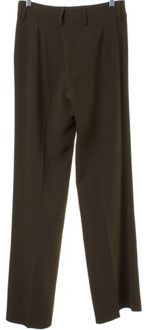ETRO Olive Green Straight Leg Pleated Trousers Pants