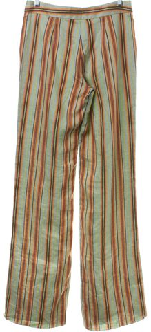 ETRO Green Multi Striped Casual Linen Pants
