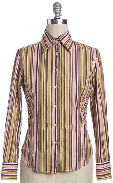 ETRO Multi-Color Striped Button Down Shirt Top