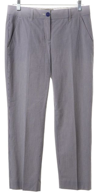 ETRO Blue White Cotton Cropped Trousers Pants