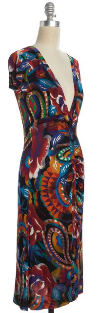 ETRO Blue Red Green Abstract Geometric Print Fit & Flare Casual Dress