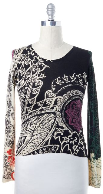 ETRO Black Ivory Purple Green Abstract Print Crewneck Sweater