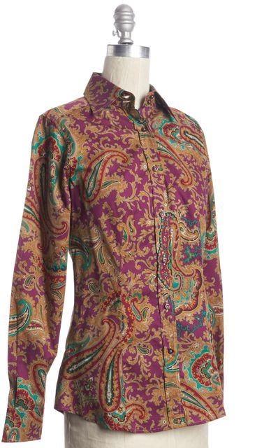 ETRO Purple Green Geometric Abstract Floral Print Blouse Top