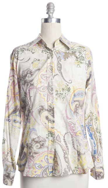 ETRO Ivory Color Block Abstract Floral Print Button Down Shirt Top