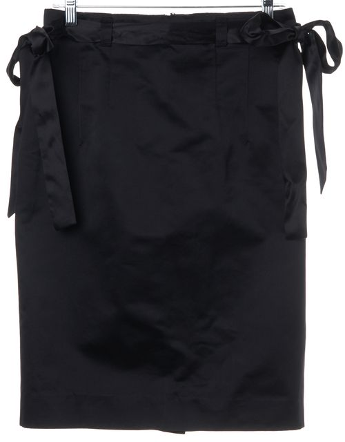 ETRO Black Cotton Silk Blend Side Tie Straight Skirt