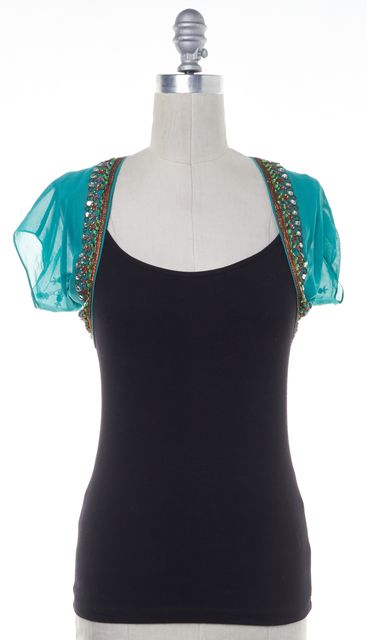 ETRO Green Embellished Silk Sheer Bolero Shrug Fits Like XS