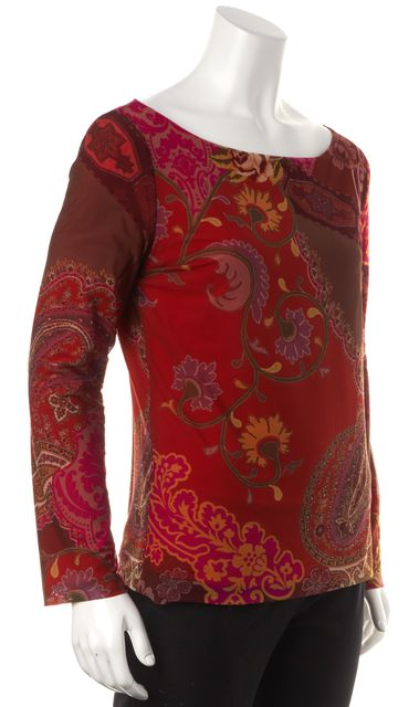 ETRO Red Multi Paisley Floral Printed Mesh Long Sleeve Blouse