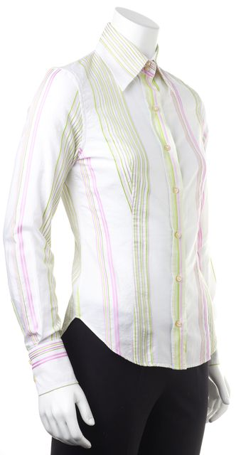 ETRO White Pink Green Striped Long Sleeve Button Down Shirt Blouse