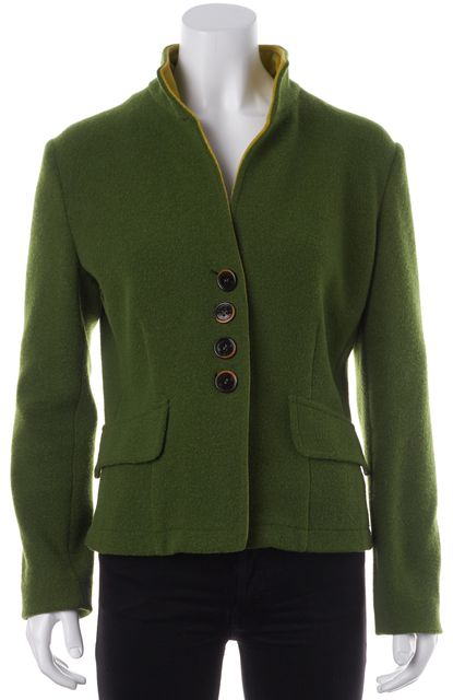 ETRO Moss Green Wool Button Front Casual Basic Jacket