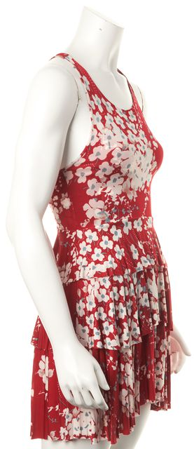 ETRO Red White Floral Printed Jersey Tiered Fit Flare Summer Dress