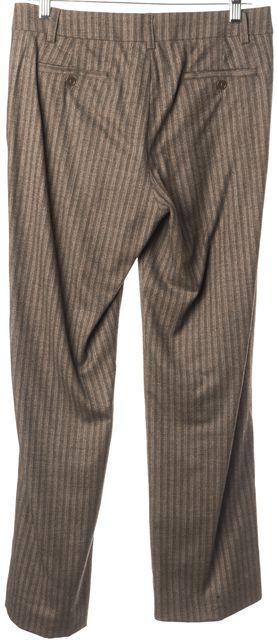 ETRO Brown Beige Wool Casual Striped Career Wide Leg Pants