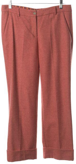 ETRO Pink Wool Pleated Cropped Cuffed Hem Trouser Dress Pants