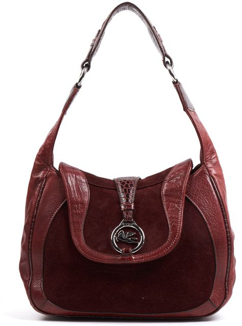 ETRO Terracotta Red Suede Leather Silver Hardware Shoulder Bag