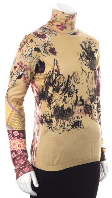 ETRO Cream Pink Animal Graphic Silk Turtleneck Long Sleeve Sweater
