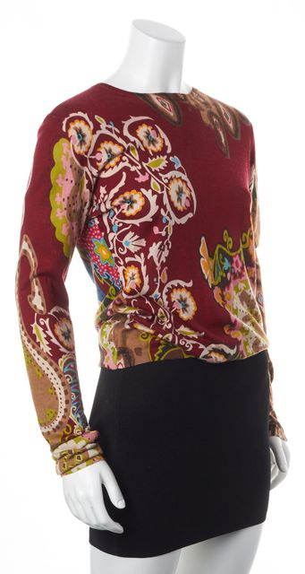 ETRO Red Green Brown Pink Abstract Floral Print Silk Boat Neck Sweater