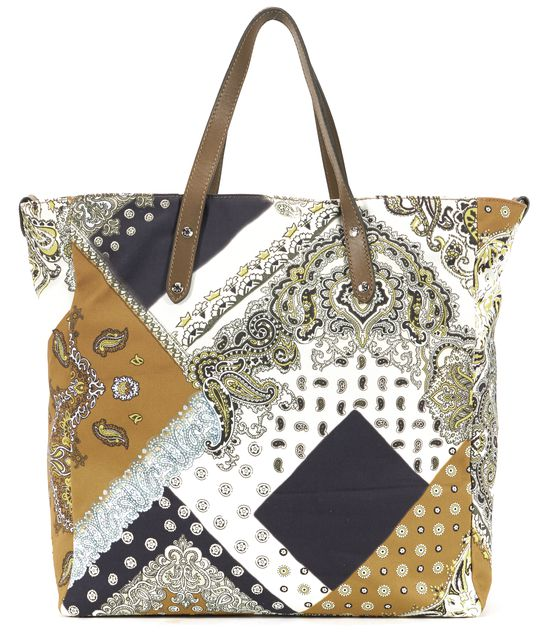 ETRO Ivory Yellow Gray Black Tan Abstract Paisley Print Top Handle Tote Bag
