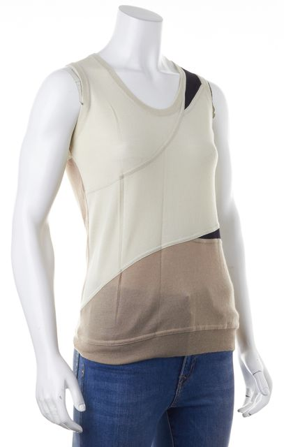 ETRO Ivory Brown Colorblock Cashmere Tank Top