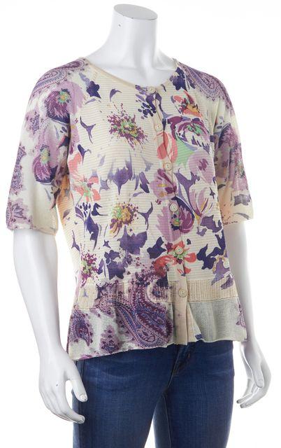ETRO Ivory Multi-Colored Embellished Floral Short Sleeve Cardigan US 12 IT 48