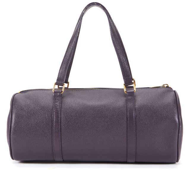 ETRO Purple Leather Gold Hardware Zip-Up Top Handle Handbags