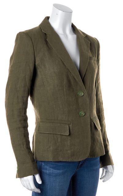 ETRO Green Linen Double Button Pocket Front Blazer