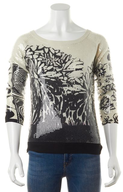 ETRO Ivory Black Floral Printed Sequined 3/4 Sleeve Knit Top