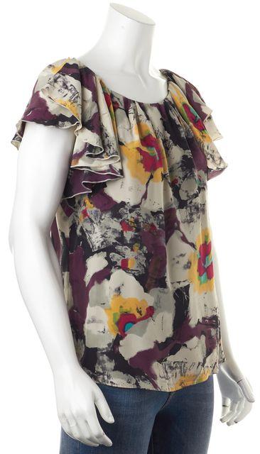 ETRO Ivory Purple Pink Yellow Abstract Print Ruffle Silk Blouse
