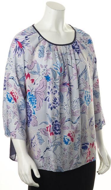 ETRO Navy Blue Pink White Purple Floral Print Relaxed Fit Blouse