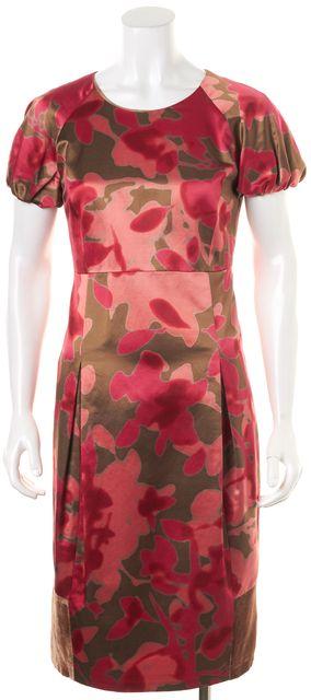 ETRO Red Pink Gold Floral Velvet Trim Midi Sheath Dress