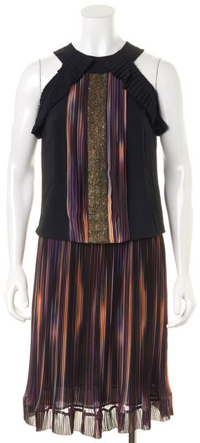 ETRO Purple Black Orange Striped Embroidered Blouson Dress