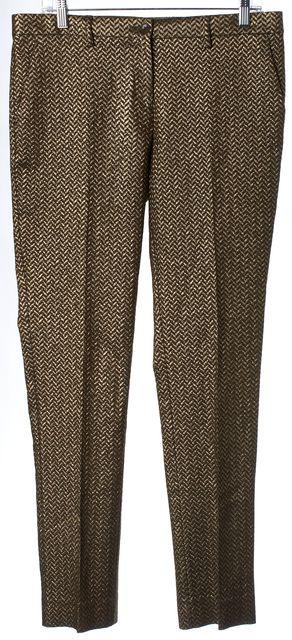 ETRO Brown Metallic Gold Chevron Pleated Trouser Dress Pants