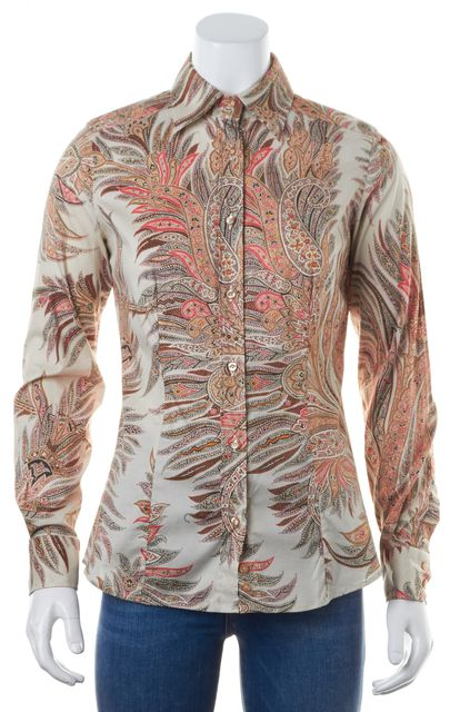 ETRO Brown Beige Pink Paisley Print Long Sleeve Button Down Shirt
