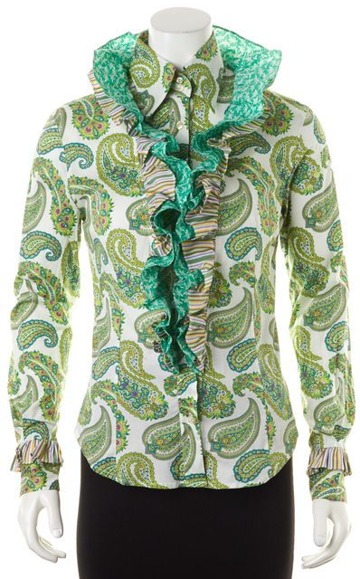 ETRO Green Multi-Color Paisley Print Stand Up Ruffle Long Sleeve Blouse