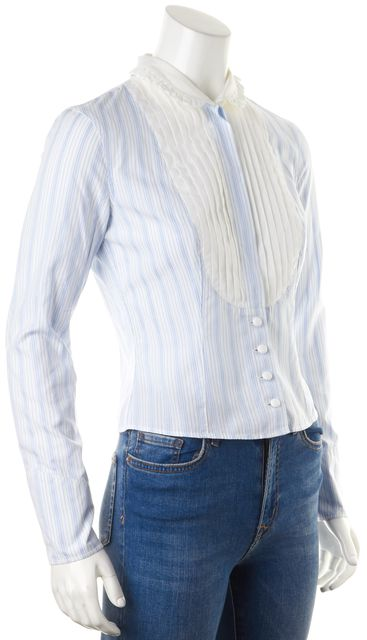 ETRO White Pale Blue Striped Ruffle Long Sleeve Button Down Shirt
