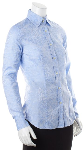 ETRO Blue Floral Embroidered Cotton Long Sleeve Button Down Shirt