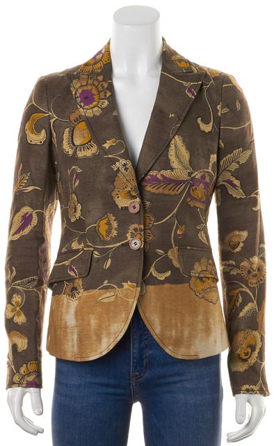ETRO Brown Floral Printed Linen Two Button Pocket Front Blazer