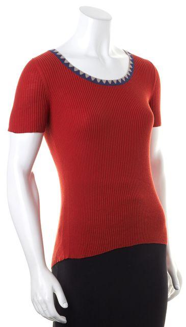 ETRO Red Beige Navy Geometric Collar Rib Knit Stretch Top