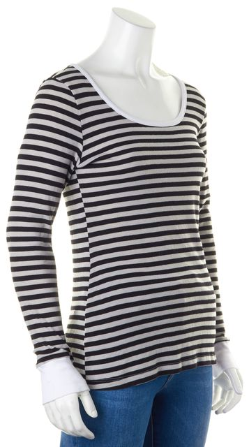 ETRO Gray Black Supima Cotton Striped Long Sleeve Knit Top