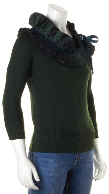 ETRO Hunter Green Ruffled Long Sleeve Knit Top