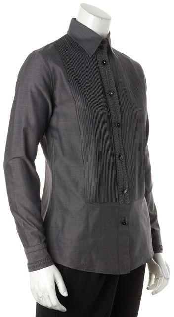 ETRO Black White Mini Check Tuxedo Style Button Down Shirt Top