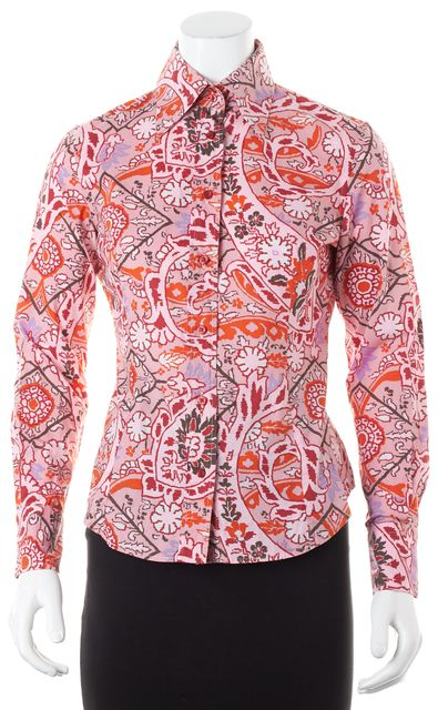 ETRO Pink Multi-Color Floral Paisley Printed Button Down Shirt