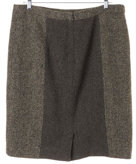 ETRO Brown Colorblock Wool Leather Trim Knit Pencil Skirt