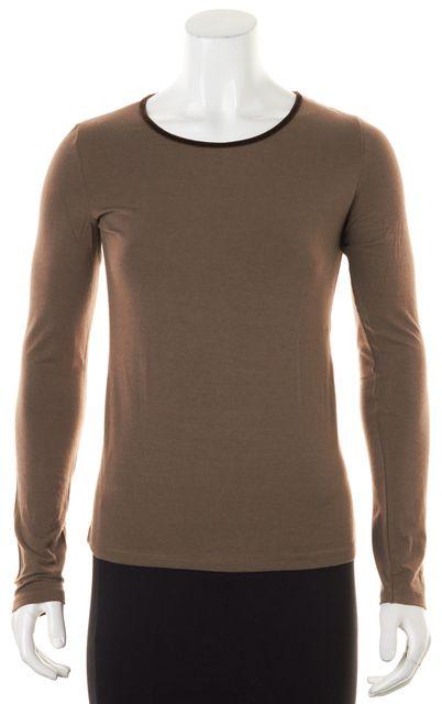 ETRO Brown Wool Jersey Velvet Trim Long Sleeve Tee T-Shirt