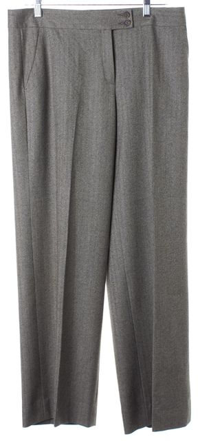 ETRO Gray Herringbone Wool Wide Leg Trouser Dress Pants