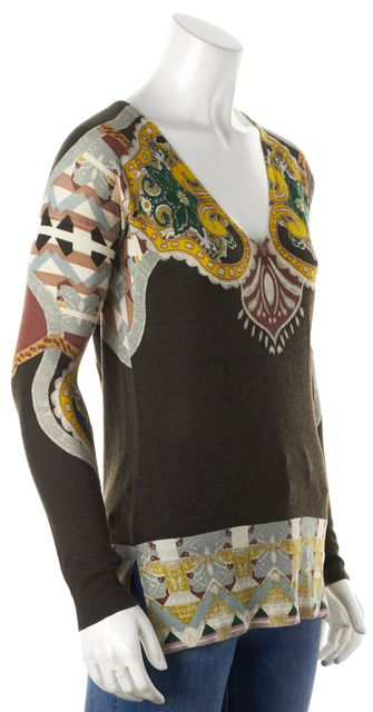 ETRO Black Abstract V Neck Silk Blend Knit Top