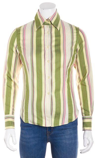 ETRO Yellow Green Pink Brown White Striped Button Down Shirt Blouse