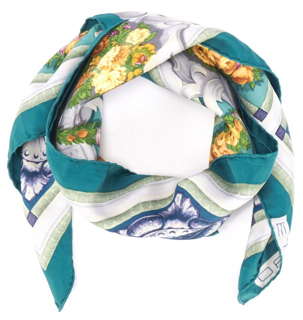 ETRO Teal Blue Multi-Color Floral Silk Square Scarf