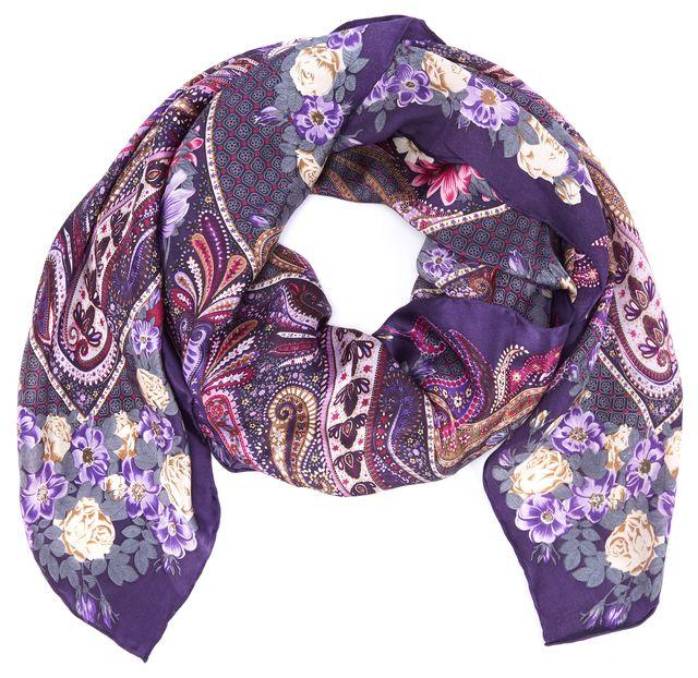 ETRO Multi-Tone Purple Floral Silk Scarf