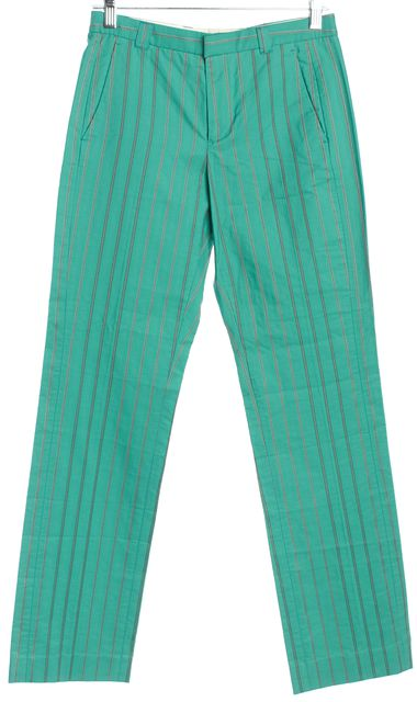 ETRO Teal Blue Striped Straight Leg Chino Pants