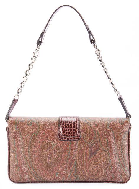 ETRO Brown Paisley Print Shoulder Handbag