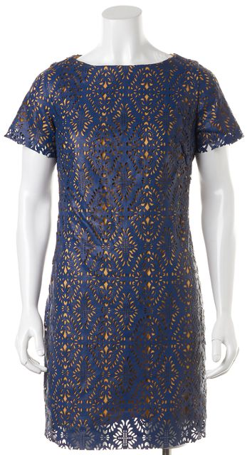 EVA FRANCO Navy Blue Yellow Laser Cut Overlay Faux Leather Sheath Dress